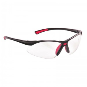 Portwest Clear Bold Pro Safety Glasses with Red Temples PW37RER
