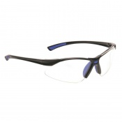 Portwest Clear Bold Pro Safety Glasses with Blue Temples PW37BLU