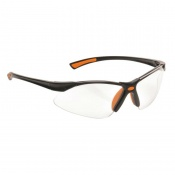 Portwest Clear Bold Pro Safety Glasses with Orange Temples PW37ORR
